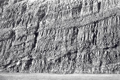Rock strata in road cutting near Barcelona.