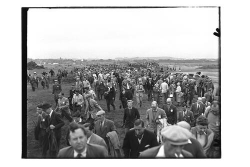 Crowds walking on the Old Course, the Open Championship, St Andrews.