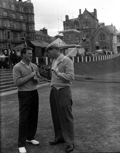 Peter Thomson and Kel Nagle on the 1st Tee, the Old Course, St Andrews, during the Centenary Open Championship.