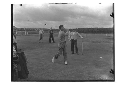 Peter Thomson (Australia) tees off on the Old Course, Centenary Open Championship, St Andrews.