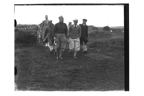 ?Fendl, Jim Ferrier (Australia) and Hector Thomson walking down the Old Course, British Amateur Golf Championships, 1936, St Andrews.