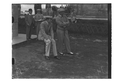 Brigadier-General Alfred Cecil Critchley and Lord Charles Hope watching play near the Starters Hut, British Amateur Golf Championships, 1936, St Andrews.
