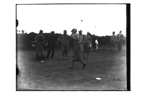 Bobby Locke teeing off on the Old Course, British Amateur Golf Championships, 1936, St Andrews.