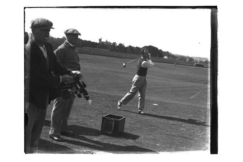 L G Crawley teeing off on the Old Course, British Amateur Golf Championships, 1936, St Andrews.