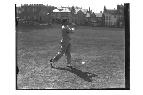 Richard Chapman (USA) teeing off from the 1st Tee on the Old Course, British Amateur Golf Championships, 1936, St Andrews.
