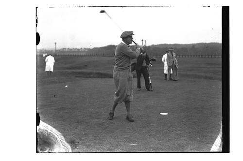 Golfer teeing off on the Old Course, St Andrews, The British Amateur Championship, 1936.