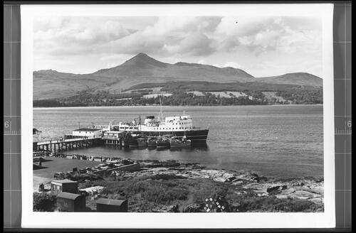 The Pier and Bay, Brodick, Isle of Arran, showing Goatfell (Height 2866ft).