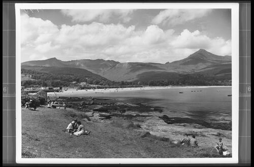 Brodick Bay, Isle of Arran, showing Goatfell (Height 2866ft).