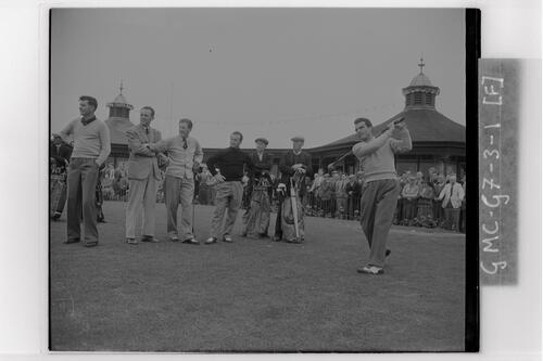 Practice on the 1st Tee at Carnoustie, the Open Championship, 1953.