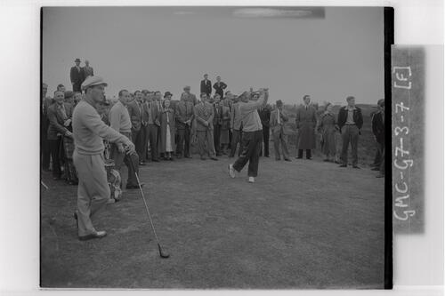 Bobby Locke (South Africa) teeing off at Carnoustie during the Open Championship 1953.