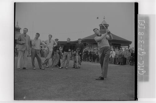 Golfer teeing off on the 1st Tee at Carnoustie during the Open Championship 1953.
