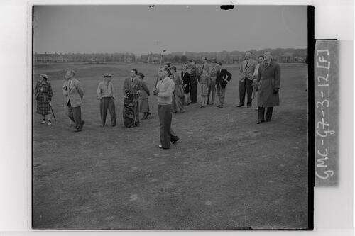 Fred Daly driving during practice rounds at Carnoustie, the Open Championship, 1953.