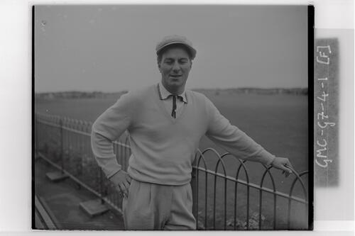 A golfer at the qualifying rounds, Carnoustie Open Championship, 1953.