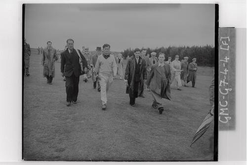 Golfers walking the course during the qualifying rounds, Carnoustie Open Championship, 1953.