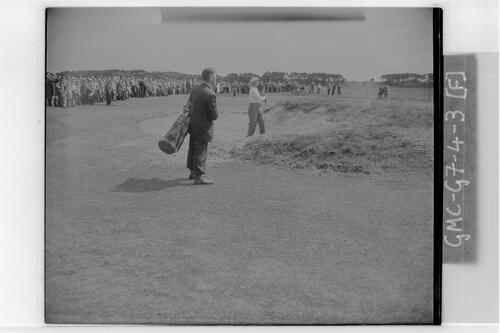 Roberto De Vicenzo playing out of a bunker at the qualifying rounds, Carnoustie Open Championship, 1953.