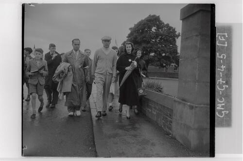 Golfer arriving at the course during the qualifying rounds, Carnoustie Open Championship, 1953.