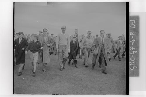 Roberto De Vicenzo (Argentina) walks the course at the Carnoustie Open Championship, 1953.