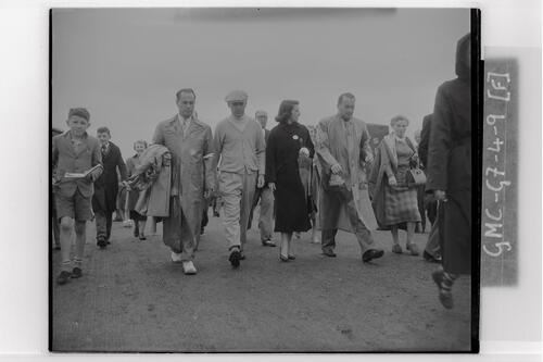 Ben Hogan walks the course at the Carnoustie Open Championship, 1953.