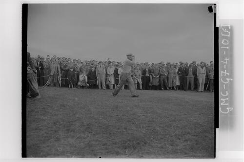 Roberto De Vicenzo (Argentina) drives from the rough at the Carnoustie Open Championship, 1953.
