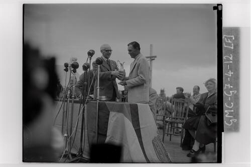 Ben Hogan recieves the Claret Cup after winning the Carnoustie Open Championship, 1953.