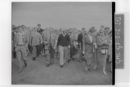 Ben Hogan walks down the course at the Open Championship final rounds, Carnoustie.