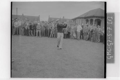 Ben Hogan tees off at the Open Championship final rounds, Carnoustie.