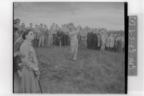 Roberto De Vicenzo plays out of the rough at the Carnoustie Open Championship final rounds, 1953.