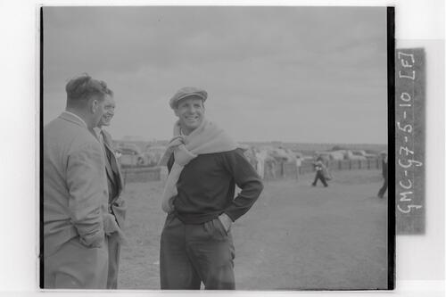 Golfers at the Carnoustie Open Championship final rounds, 1953.