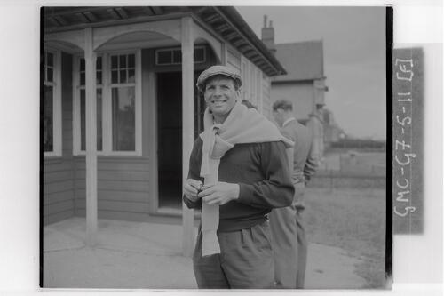 Golfer at the Carnoustie Open Championship final rounds, 1953.