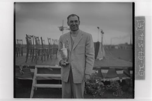 Ben Hogan with the Claret Cup trophy after winning the Carnoustie Open Championship, 1953.
