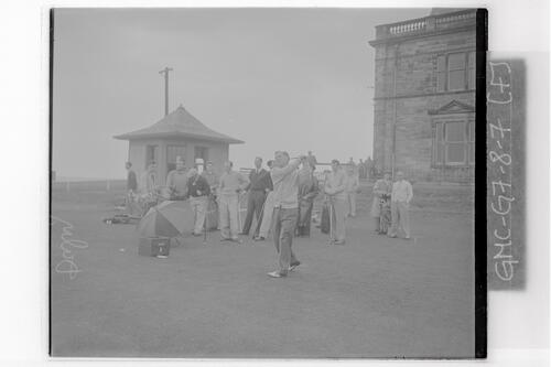Fred Daly (Balmoral, Ireland) tees off at the 1st Tee of the Old Course, the Open Championship, St Andrews,