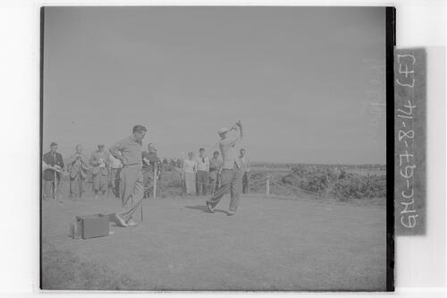 Harry Weetman (Croham Hurst) tees off on the Old Course, the Open Championship, St Andrews,