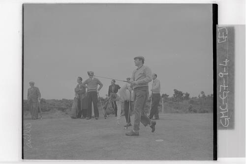 Peter Alliss (Ferndown) teeing off at the Open Championship, St Andrews,