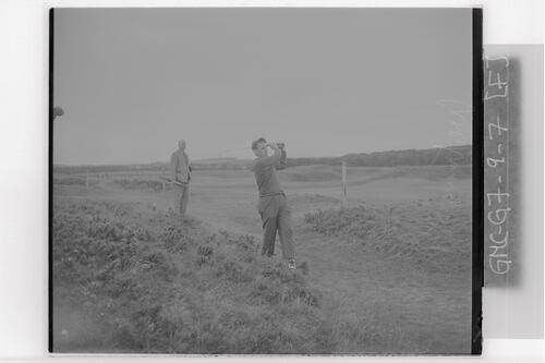Harry Weetman (Croham Hurst) driving from the rough, the Old Course, the Open Championship, St Andrews,