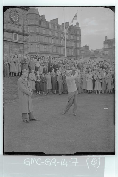 At 8am Francis Ouimet plays in as the new captain, using a special ball and watched by Willie Auchterlonie, on the first Tee of the Old Course, St Andrews.