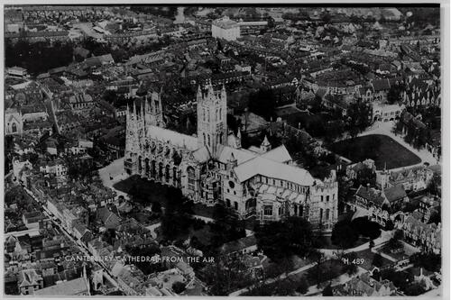 Canterbury Cathedral from air.
