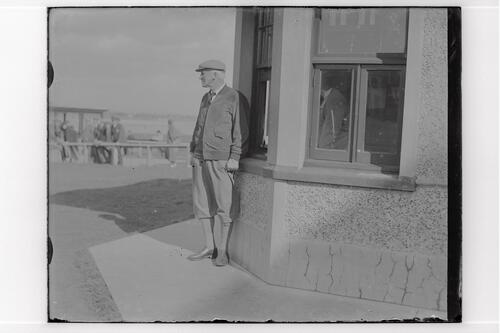 Sir John Simon beside the Starter's Hut, the Old Course, St Andrews.